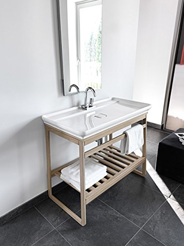 Lavabo Lavabo design moderne Naked + Mobile châssis traîneau blanchi en bois 98 x 54 x H78 cm