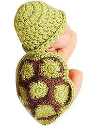 SaiDeng Estilo Lindo De La Tortuga Para Bebé Fotografía Del Recién Nacido Hecho A Mano De Ganchillo Beanie Hat Verde