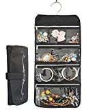 Misslo 8 Zippered Pockets Travel Jewellery Organiser with Rotatable Hanger, Black