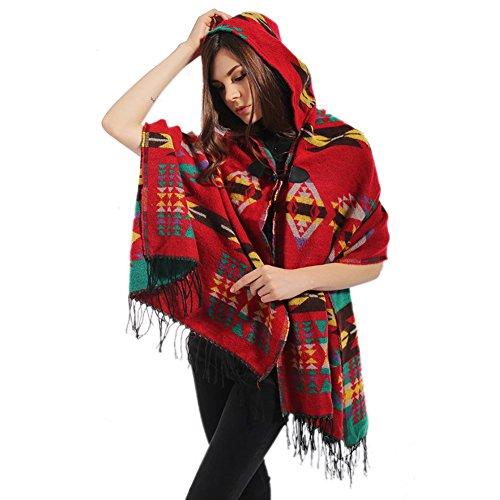 BOBORA Donna Felpa con Cappuccio Plaid Cape Mantello Coperta Poncho Cappotto Scialle Bohemian Rosso