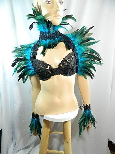 Karneval Rio Vögel Kostüm - Set türkis Federstola und Federkragen und Federarmbänder