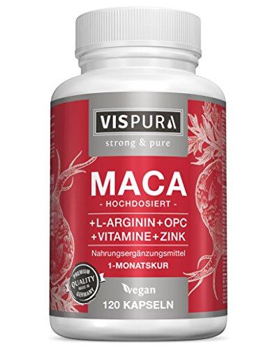 Capsule di maca ad alto dosaggio 5000 mg + l-arginina 1800 mg + formula VITAL B6, B12, OPC, zinco, 120 capsule vegan per 1 mese di cura, qualità premium tedesca e reso gratuito entro 30 giorni
