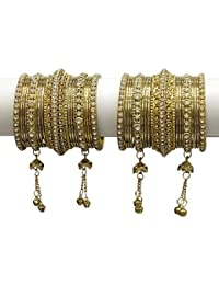 MUCH MORE Beautiful Gold Plated Charming Latkan Metal Bangle Set For Women & Girls Jewelry