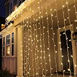 DulceCasa 3x 3m Tenda Luminosa di Natale 300 LED 100% impermeabile Luce per Interno / esterno Natale stringa fata nozze Luci della tenda 220V nuziale / hotel / festival / Ristoranti barriera fotoelettrica - Blanc Chaud