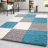 Modern Designer Hochflor Langflor Shaggy Teppich Kariert Muster Versch. Größen, Farbe:Türkis, Maße:160x230 cm