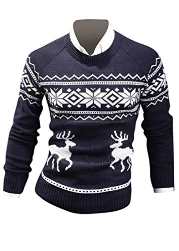 Jeansian Hommes Robe Pull Fashion Tendance Chemise Slim Fit Men Casual Sweater Shirt 8821 Navy