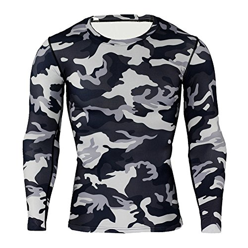 Kootk Herren Langarm Funktionsshirt Thermo Pullover - Männer Compression T-Shirt Base Layer Thermal Tops Gym T-Shirt Oberteile Shirts Funktionswäsche Unterhemden Unterwäsche M -
