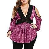 MRULIC Geschenk zum Muttertag Mode Frauen Blumendruck Plus Size Belted Surplice Schößchen Bluse V-Ausschnitt Tops(X-Violett,EU-44/CN-3XL)