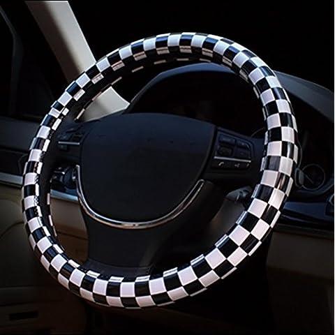 EarthSafe® Copertura di rotella cuoio dell'unità di elaborazione della direzione dell'automobile, universale da 15 pollici in bianco e nero Plaid Steering Wheel