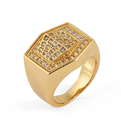 mcsays Hip Hop Ringe Iced Out Kristall Bibel Form Ring Dekoration Rapper Finger Ring CZ Bling Gold/Silber vergoldet Schmuck für Männer/Frauen Dope - Frauen Für Bibel Türkis