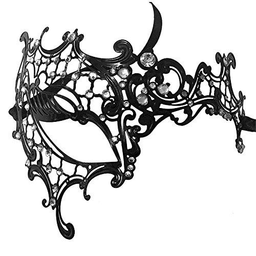 (ParttYMask Maskerade,Herz Hyun Metall Strass halbe Gesicht Maske weibliche Halloween Make-up Prom Party Show Prinzessin Maske Augenmaske 1 Masquerade)