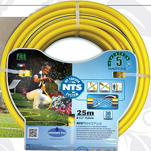 Bradas FWP1/225 5-lagig Profi Gartenschlauch 1/2 Zoll NTS, 25 m knickfest und verdrehungsfest FITT, Wasserschlauch, Gelb, 35,9x35,9x9 cm Patent 3 3/4