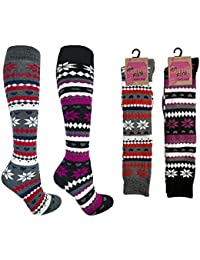 Ladies Thick Welly Knee High 3 Pack Fairisle Design Thermal Socks Size 4-7