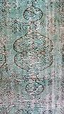 ASLAN Oushak Rug Vintage Alfombra Turquesa/Turquoise
