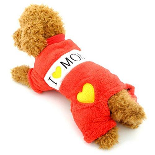Zunea en velours doux Chien Pyjama pour petit animal Vêtements confortables I Love Mommy Dadoy Chihuahua Doggie JumpSuit tenues