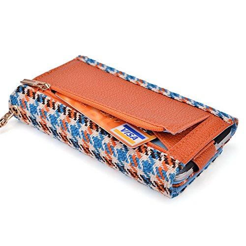 Kroo Housse de transport Dragonne Étui portefeuille pour Prestigio MultiPhone 4505Duo/4500Duo/5450Duo Magenta and Black Blue Houndstooth and Orange