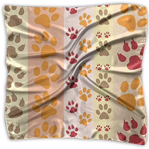 Floral Bedruckte Schal (Pizeok Hund Pfotenabdrücke Mode Frauen Floral Bedruckte Lady Square Schal Kopf Wickeln Halstuch Hals Satin)