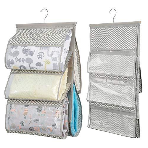 mDesign estanteria colgante para organizar la ropa de bebe - Organizador de ropa color gris oscuro/natural - Con 5 compartimentos - Juego de 2 unidades
