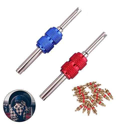 il Werkzeug Stahlwelle Doppelkopf Reifen ventileinsatz Reparatur-Werkzeuge Zum Auto Fahrrad mit 20x Ventil Kerne (Rot und Blau) ()