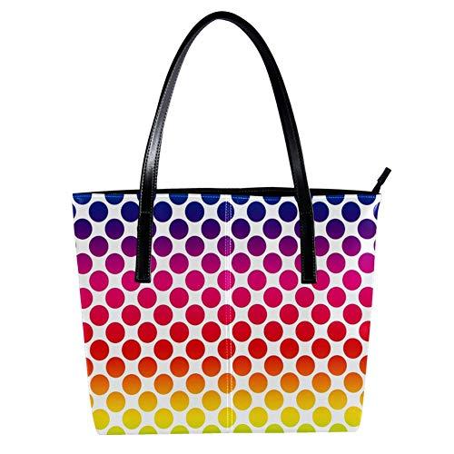 Women's Bag Shoulder Tote handbag Polka Dots print Zipper Purse PU Leather Top-handle Zip Bags -