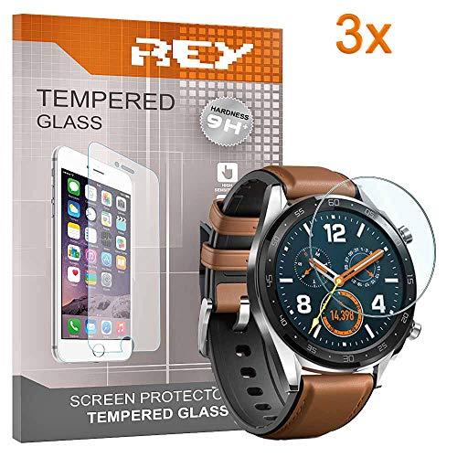 REY 3X Protector de Pantalla para Huawei Watch GT/Watch GT Active, Cristal Vidrio Templado Premium