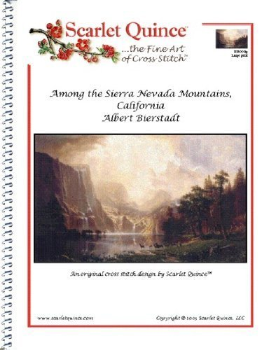 Scarlet Quince BIE002lg Among the Sierra Nevada Mountains, California by Albert Bierstadt Counted Cross Stitch Chart, Large Size Symbols by Scarlet Quince