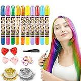Tiza para el cabello, 10 colores temporal Cabello Tiza color Set Tinte no tóxico Color de tiza para niñas y niños pelo teñido, fiesta, Navidad y Cosplay DIY