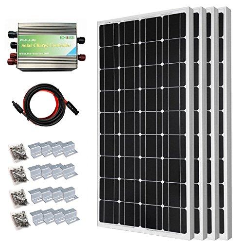 ECO-WORTHY 400W Mono Solarmodul 12 Volt Off Grid Bausatz - 4 X 100W Photovoltaik Solarpanel W/ 30A Laderegler zum Aufladen von 12V Batterien