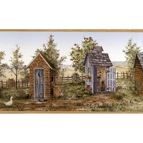 FDB50168 - Coeur du Pays Shed Outhouse Beige Wallpaper Border