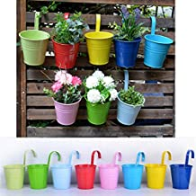 Wiiguda@LOT 8 Pots de Fleurs Suspendu Colorés en Metal Pot de fleur Extérieur Plante avec Accroche Amovible Décoration Jardin Maison Balcon