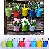 Wiiguda@8 Stück Metall Eisen Hängetöpfe Blumentopf Balkontopf Vase mit 8 verschiedenen Farben