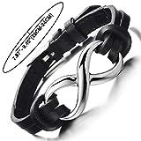 Unendlich Leder-Armband Edelstahl für Herren + Damen - 2