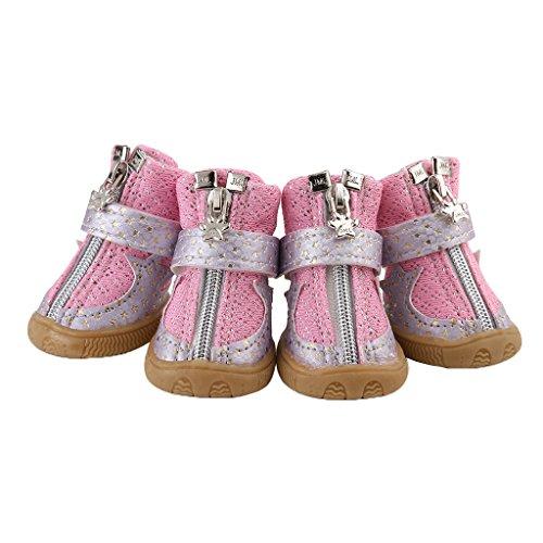 Homyl 2par Botas Zapatos Diseño Antideslizante para Mascotas Perros Protector de Patas - Rosa - M