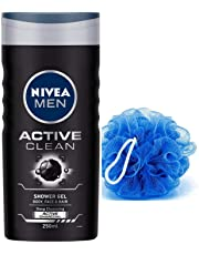 NIVEA Men Active Clean Shower Gel, 250 ml with Free Loofah