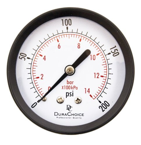 2-1/2 Utility Pressure Gauge - Blk.Steel 1/4 NPT Center Back 200PSI by DuraChoice (Blk-center)