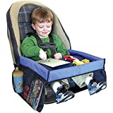 KEMFYE Childrens Travel Tray - Kids Snack and Play Tray for Car Bus Train and Plane Journeys - Small - Blue - By Driving With Kids - Works on Buggy and Pushchair