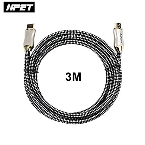 NPET Premium Pro Gold Plated High Speed V2.0/1.4a HDMI Cable With Ethernet 4K 2160p 3D TV Sky PS4 Ultra HD 10 ft. 3m