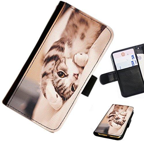 Hairyworm- Katzen Blackberry 9720 Leder Klapphülle Etui Handy Tasche, Deckel mit Kartenfächern, Geldscheinfach und Magnetverschluss.