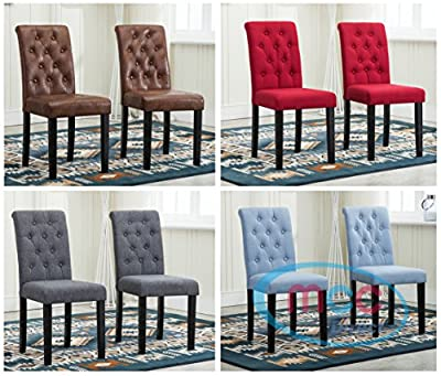 Set of 2 Lined Fabric Dining Chairs With Solid Wooden Legs For Home & Commercial Restaurants [Brown* Blue* Red* Grey*] - low-cost UK light store.