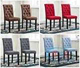 Set of 2 Lined Fabric Dining Chairs With Solid Wooden Legs For Home & Commercial Restaurants [Brown* Blue* Red* Grey*] (Blue)