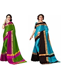 Art Decor Sarees Combo Of 2 Cotton Silk Sarees With Blouse (Pack Of 2)