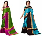 Art Decor Sarees Pack Of 2 Cotton Silk Sarees With Blouse (Pack Of 2)