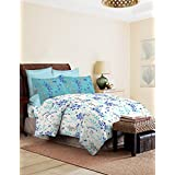 Bombay Dyeing Autumn Winter 17' Coral Vine 100% Cotton Double Bedsheet - D06- Sky Blue - 144TC