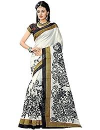 Indira Designer Women's White Color Bhagalpuri Silk Printed Saree With Blouse