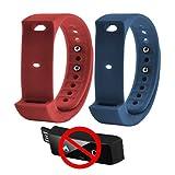 veriya Original i5Plus Smart Armband Ersatz Spare Strap für iwown i5Plus Fitness Tracker 2Stück, rot, blau
