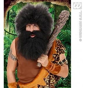 WIDMANN CAVE MAN Black Moustache and Beard Fancy Dress (peluca)