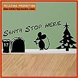 Mäuseaufkleber, Wand-Aufkleber Maus, Wandtattoo für Fussleiste / Wand / Treppe etc. ca. 20 cm breite Santa stop here, Motiv32