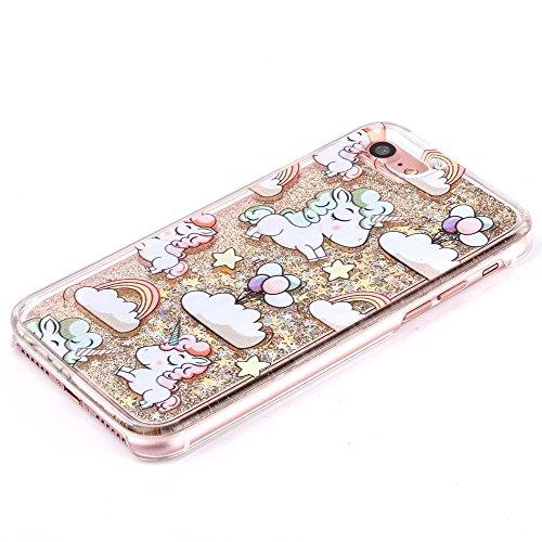 iPhone 7 Plus Hard Case Hülle,iPhone 7 Plus Glitzer Hülle,iPhone 7 Plus Transparent Hülle,iPhone 7 Plus Crystal Clear Case Hülle Klare Cristall Liquid Bling Schutzhülle Etui für iPhone 7 Plus 5.5 Zoll A Unicorn Liquid 3