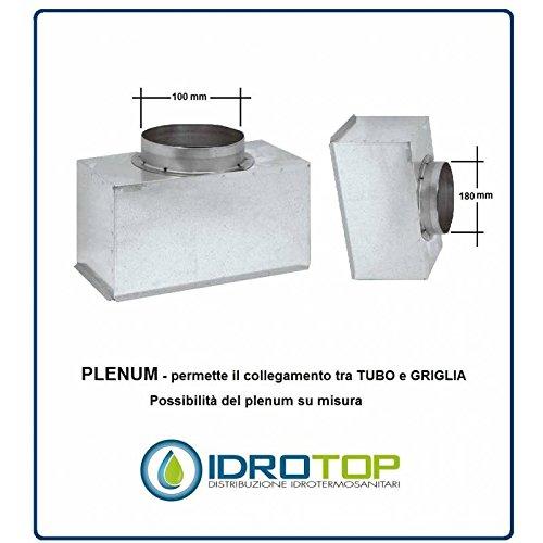 Plenum für Lüftungsgitter D.100mm H.100mm X Nova A in Blech–Aluminium, 600x 100mm