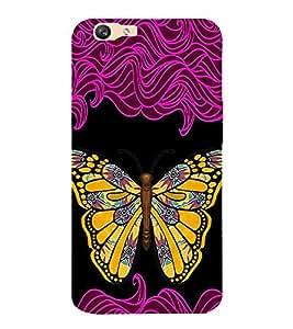 Fiobs Butterfly in Gold Designer Back Case Cover for Oppo F1s
